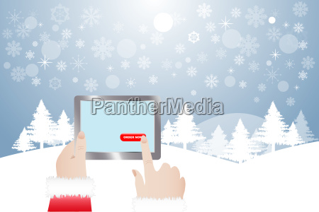 finger of santa claus touching button