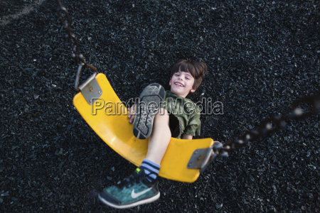 high angle view of smiling young