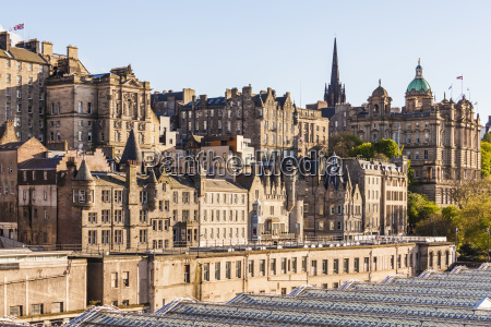 uk scotland edinburgh cityscape as seen