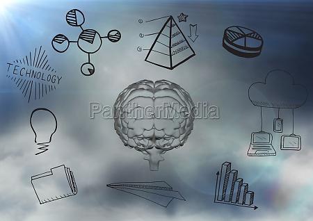 transparent brain with black business doodles
