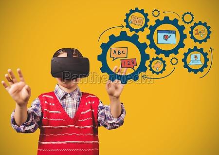 kind mit virtual reality headset beruehren