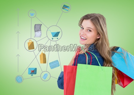 woman with shopping icons graphics drawings