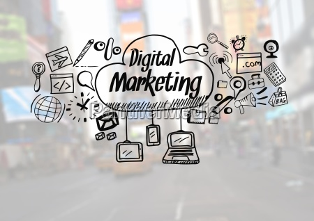 digital marketing text with drawings graphics