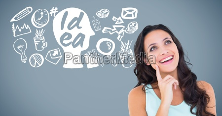 woman with idea and business graphics