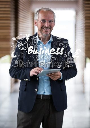 business man smiling with tablet covered
