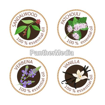 set of essential oils labels sandalwood
