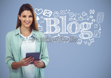 woman with blog drawings graphics