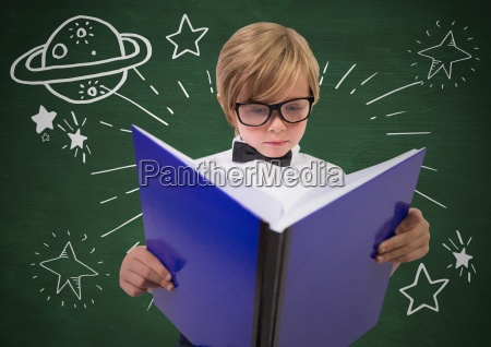 kid with large book and white