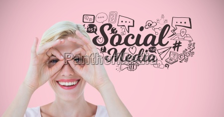 woman with funny face and social