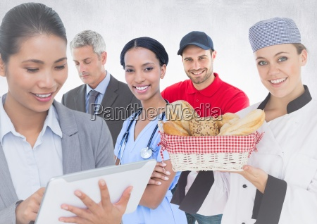 business woman and man doctor chef