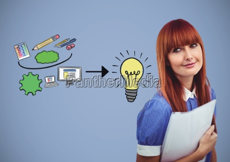 woman with creative design graphics drawings
