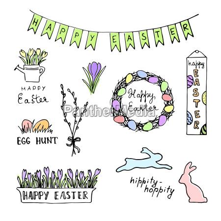glueckliche ostern farbige skizze mit eiern