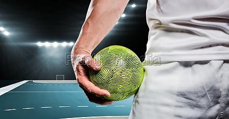 nahaufnahme des handballspielers ball in seiner