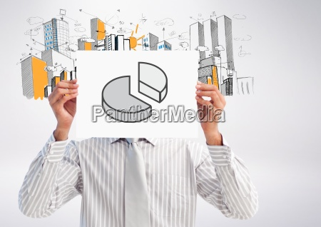 businessman holding placard with graph drawing