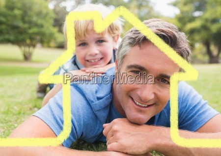 father and son overlaid with house