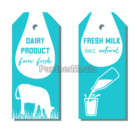 set of two tags with milk