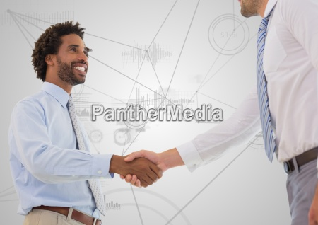 business professionals shaking hands against technology