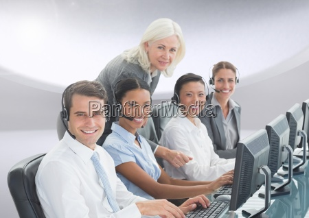 portrait of smiling customer service peoples