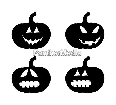 pumpkin smile silhouette set vector symbol