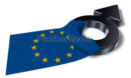 mars symbol und fahne der europaeischen