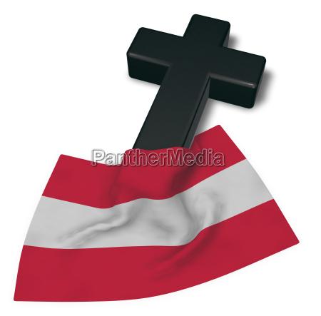 christian cross and flag of austria