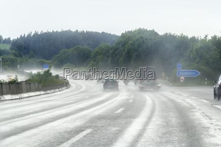 wet highway scenery