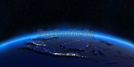 indonesia city lights map 3d rendering