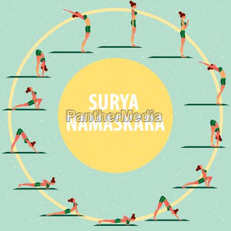 satz von sportmaedchen in verschiedenen yoga