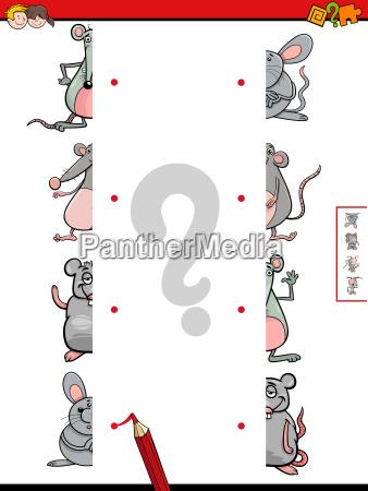 match halves of mice cartoon game