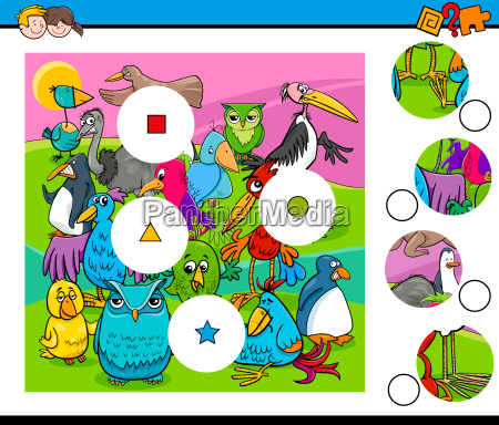 match pieces activity with bird characters