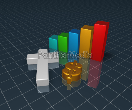 bar chart with christian cross and