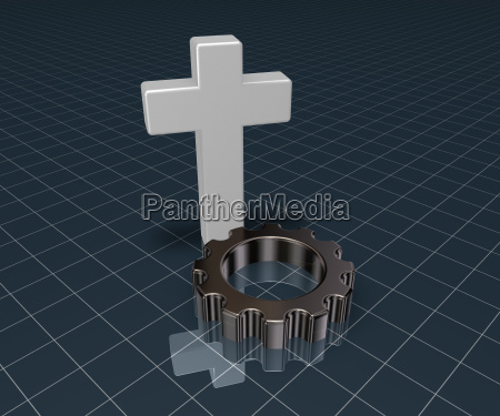 christian cross and gear