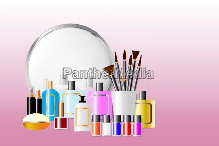 kosmetisches zubehoer vor einem spiegel