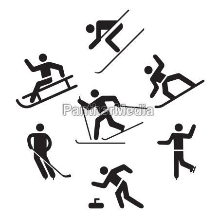 wintersport piktogramm schlittschuhlaufen skilaufen