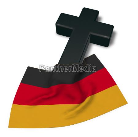 christliches kreuz und flagge der brd