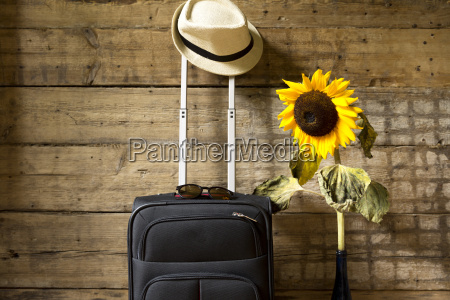 reisekonzept koffer hipster hut sonnenblume und