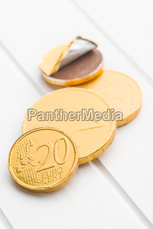 the euro currency chocolate coins