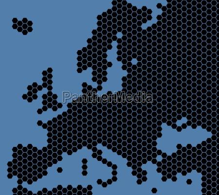 europakarte schwarz blau