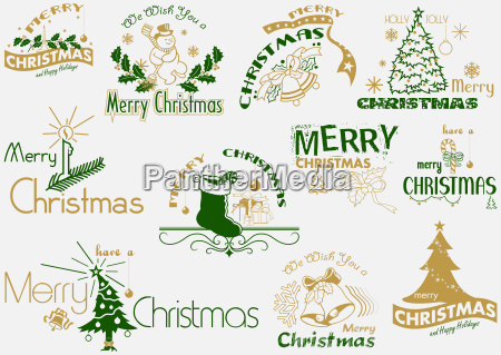 frohe weihnachts typografie set