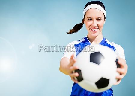 zusammengesetztes bild einer sportfrau die einen