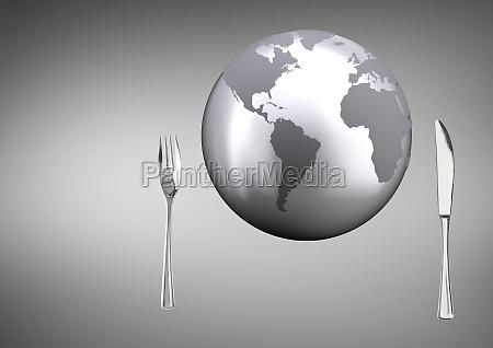 composite image eines globus mit reichweite