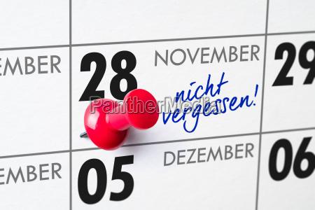 wall calendar november 28