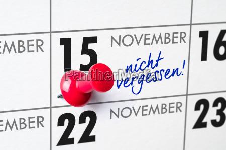 wall calendar november 15