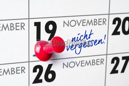 wall calendar november 19
