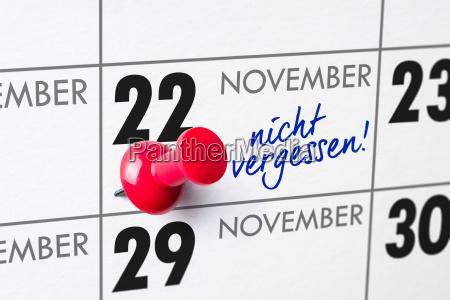 wall calendar november 22