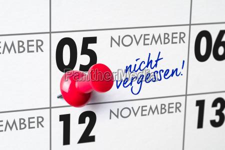 wall calendar november 5