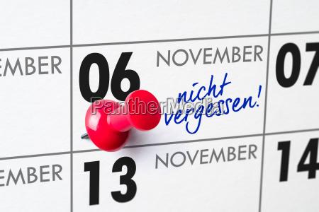 wall calendar november 6