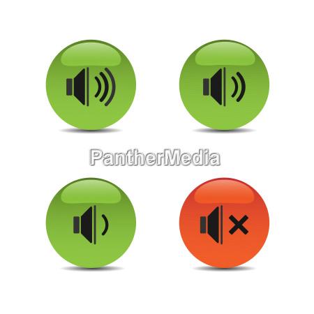 soundsymbole auf farbigen schaltflaechen und weissem