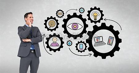 digital composite image of happy businessman