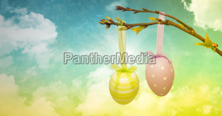 easter eggs on branch in front